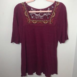 Lucky Brand Embroidered Top Large Burgundy Lace